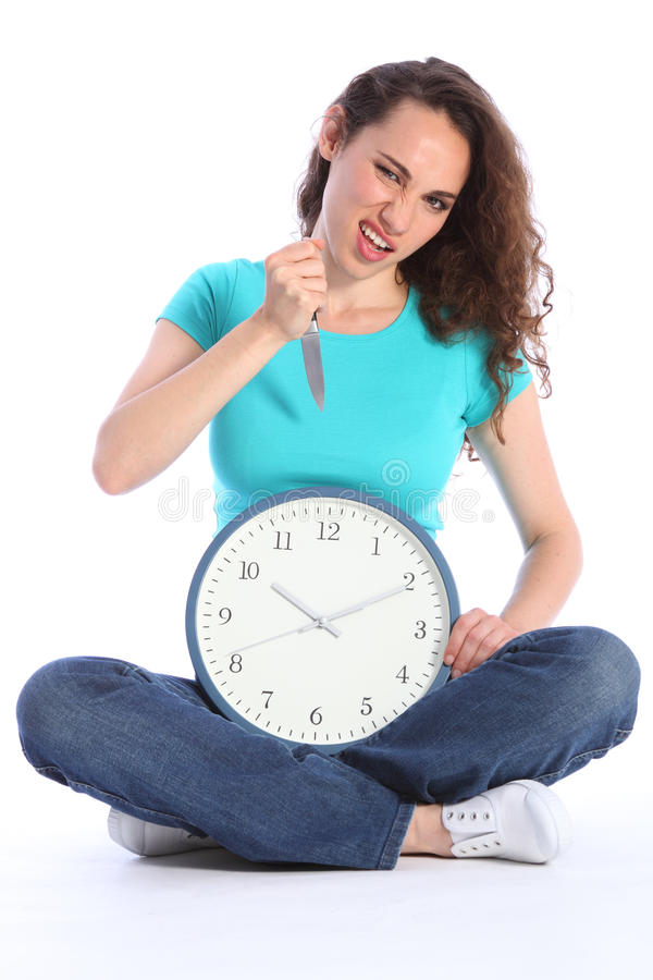 Download Beautiful Crazy Woman With Knife Killing Time Stock Images - Image: 19573794