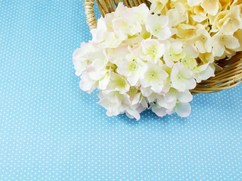 Beautiful cream and pink hydrangea artificial flower bouquet. Beautiful hydrangea artificial flower bouquet stock images