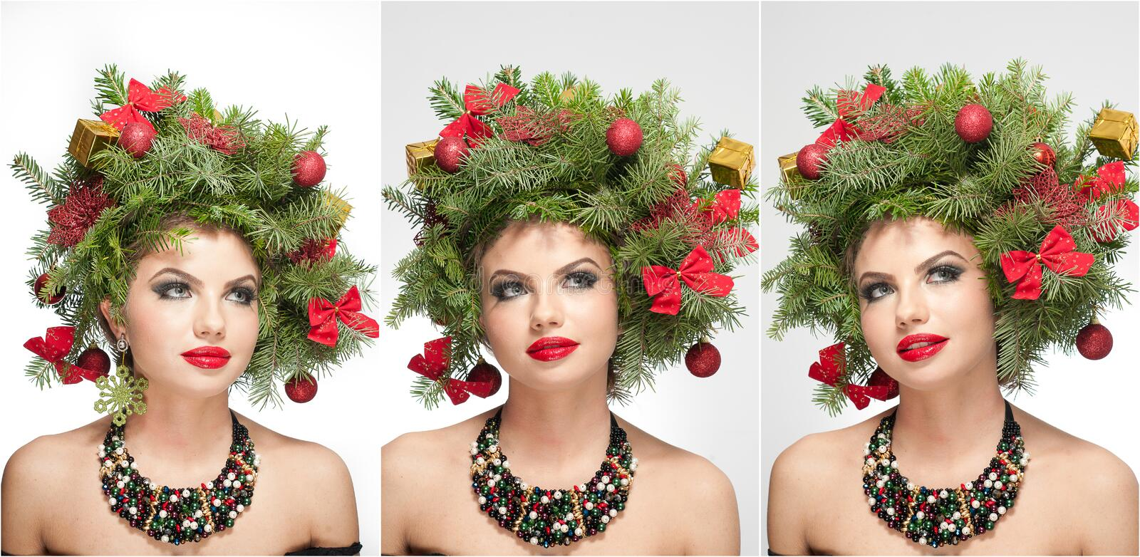 Beautiful creative Xmas makeup and hair style indoor shoot. Beauty Fashion Model Girl. Winter. Beautiful fashionable in studio. Attractive girl with Christmas royalty free stock images