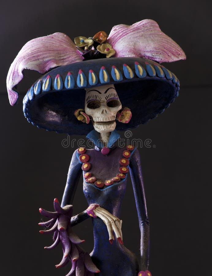 Grim Reaper from Oaxaca. A beautiful creepy sculpture of a Grim Reaper from Oaxaca stock images