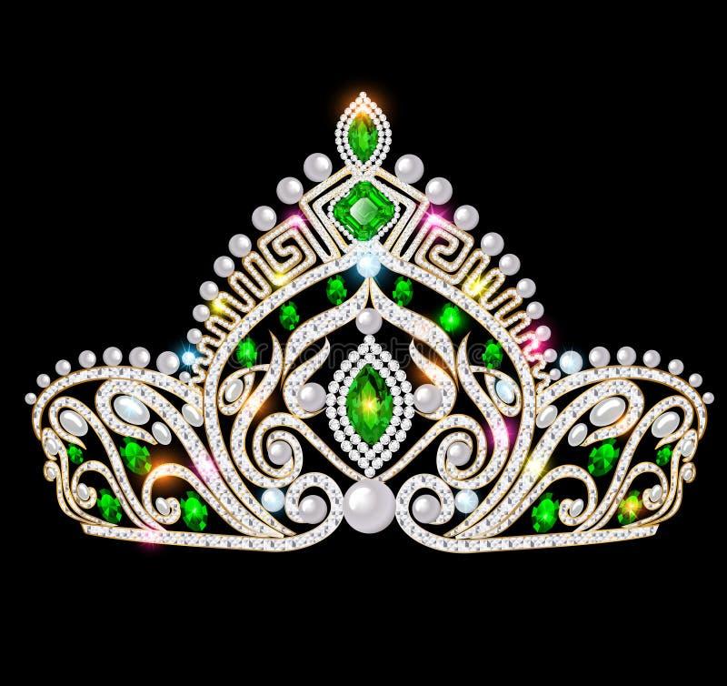 beautiful crown, tiara tiara with gems and pea stock illustration