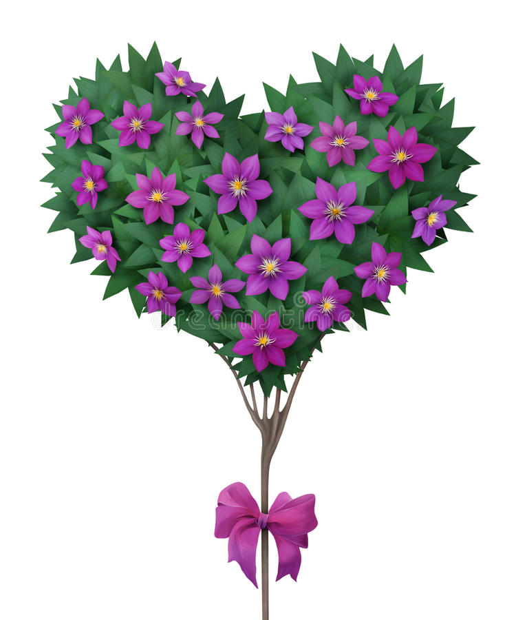 Beautiful crown of the tree in shape of heart. royalty free illustration