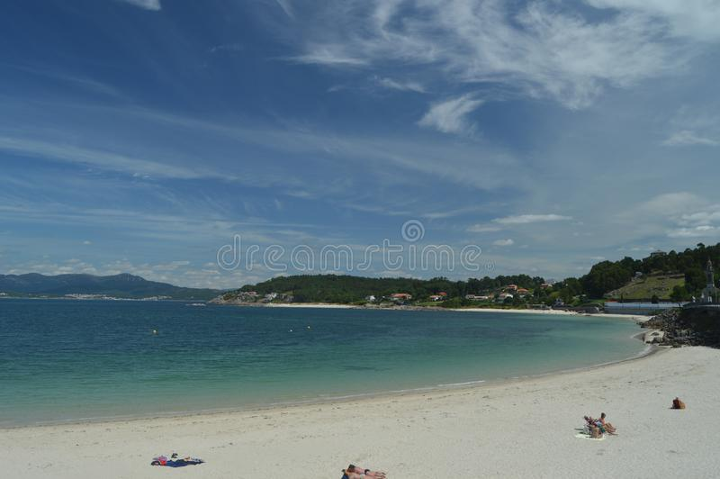 Beautiful Cruceiro Beach In Puerto Del Son. Nature, Architecture, History, Street Photography. August 19, 2014. Porto Do Son, La royalty free stock photos