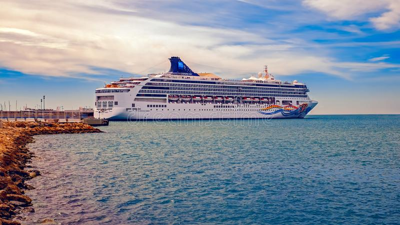 The beautiful cruise ship Norwegian Spirit in Malaga Port, Spain royalty free stock image