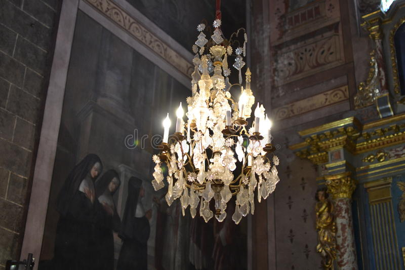 Beautiful crystal chandelier in a Church stock photos