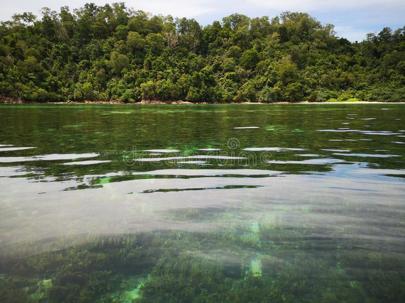 Crystal clear water with healthy coral reefs undersea from surface of Gaya Island, Tunku Abdul Rahman Park, Kota Kinabalu. Sabah,. Beautiful crystal clear water royalty free stock photo