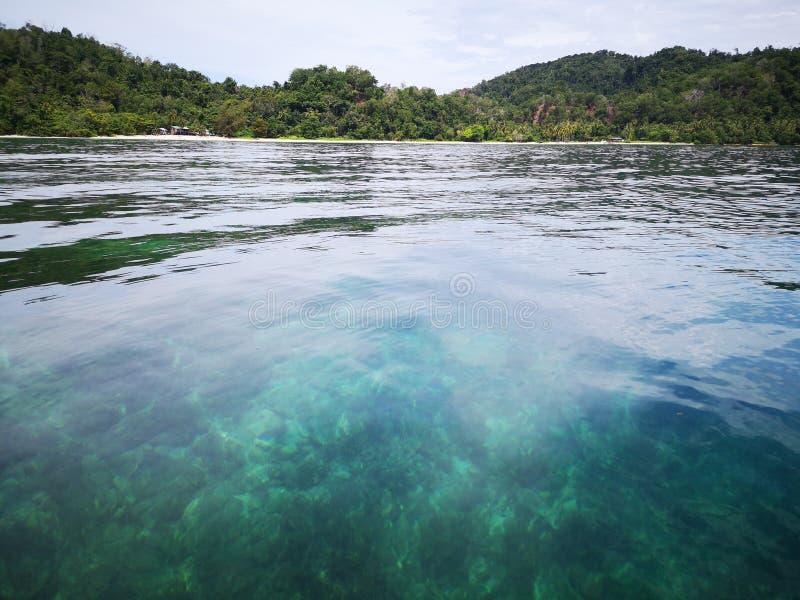 Crystal clear water with healthy coral reefs undersea from surface of Gaya Island, Tunku Abdul Rahman Park, Kota Kinabalu. Sabah,. Beautiful crystal clear water stock image