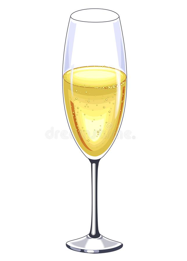 A beautiful crystal glass of champagne wine. Decoration of the festive table. Vector illustration royalty free illustration