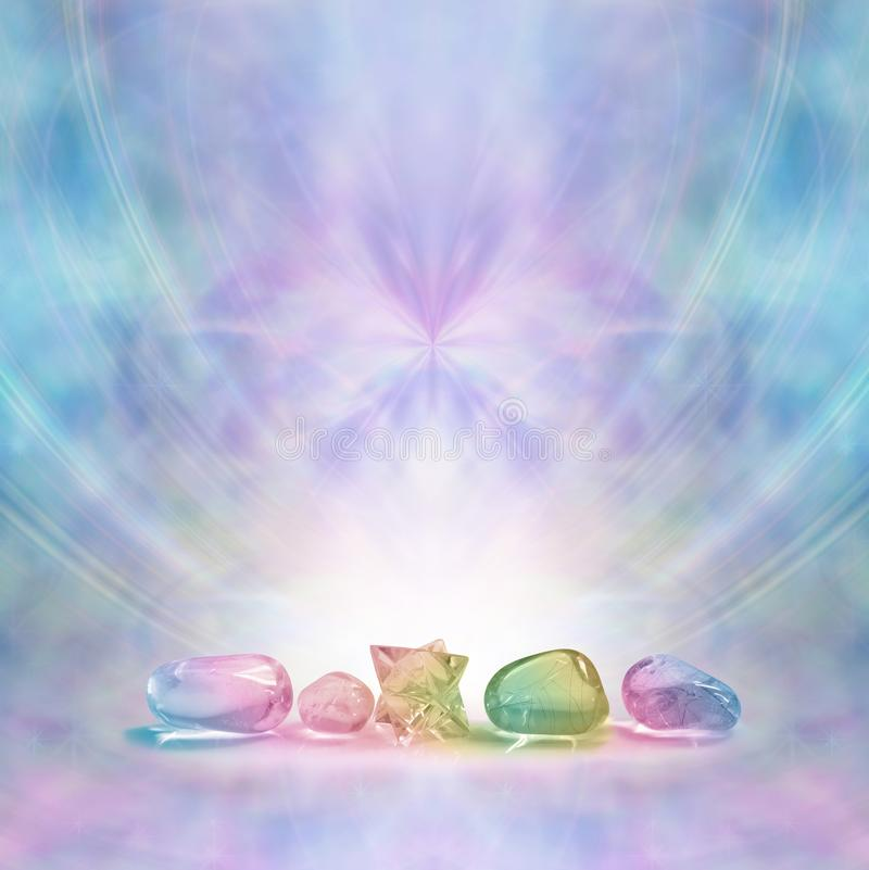Beautiful Crystal Therapy Healing Stones vector illustration