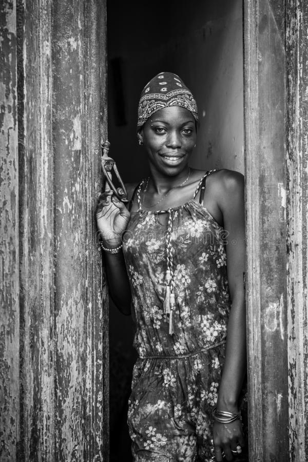 Afro Girl. Portrait of a beautiful cuban girl. royalty free stock photography