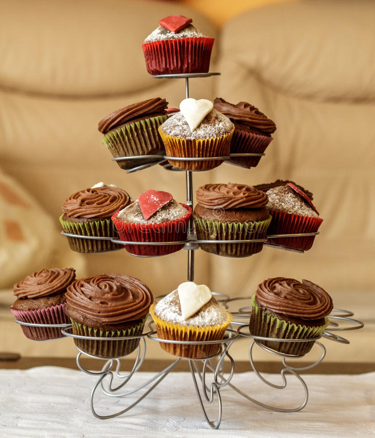 Beautiful cupcakes on a stand stock image