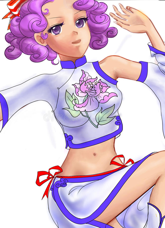 Download Beautiful Curls Girl With Flower Clothes Stock Illustration - Illustration of card, female: 26103745