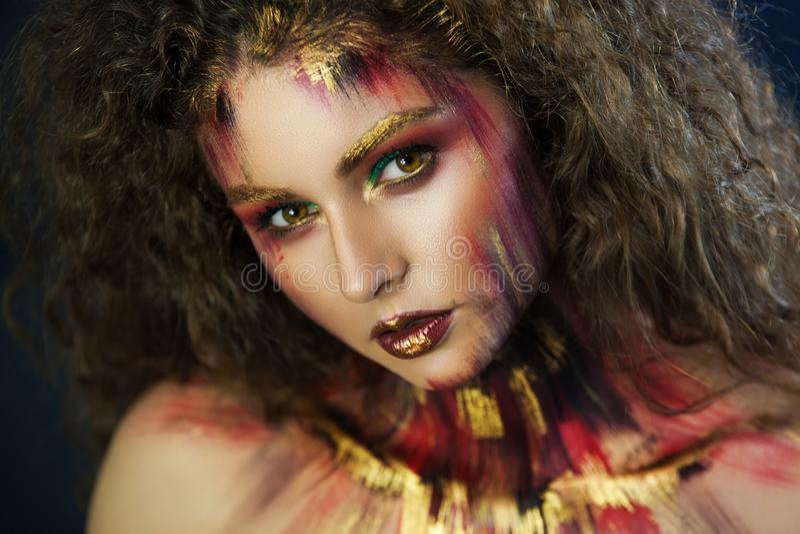 Portrait of girl beautiful girl professional make-up artist stock photos