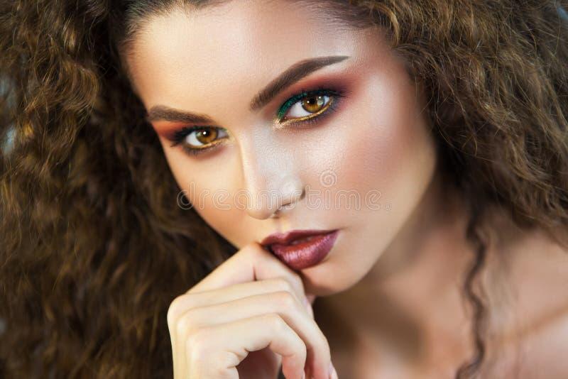 Portrait of beautiful girl professional make-up artist royalty free stock image