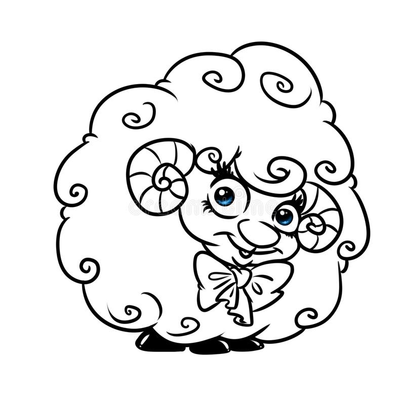 Beautiful curly lamb cartoon coloring page. Beautiful curly lamb cartoon illustration isolated image coloring page vector illustration