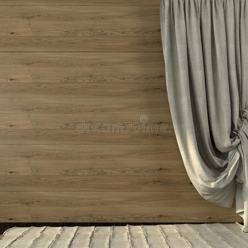 Beautiful curtains made of linen on the background of wooden wall stock photos