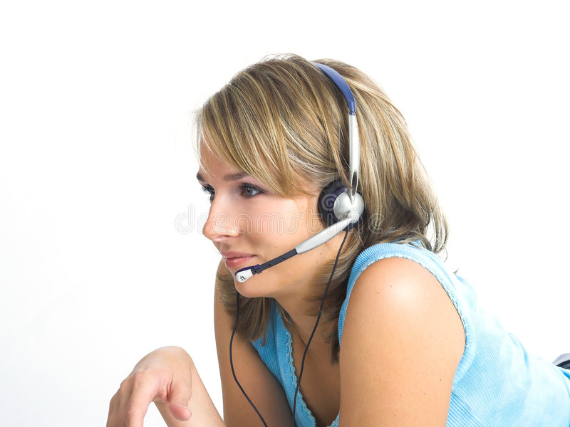 Beautiful Customer Support Girl. Over white stock images