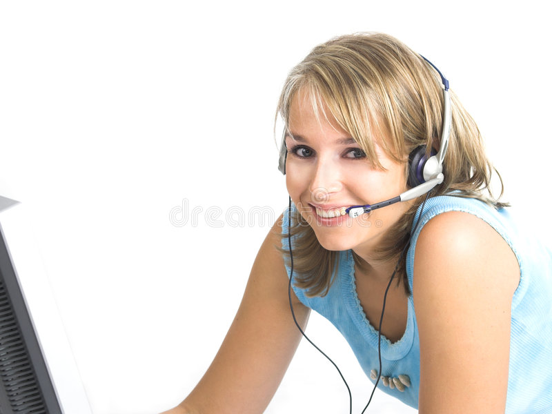 Beautiful Customer Support Girl. Over white royalty free stock photos