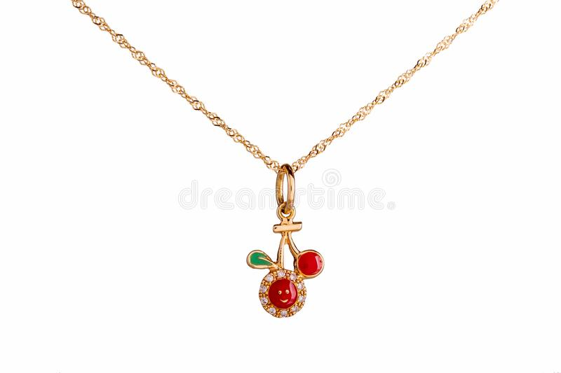 Beautiful Cute Baby & Kids Necklace Jewelry with the red cherry. Pendant in yellow gold and diamond, ideal birthday baby gift isolated on white background royalty free illustration
