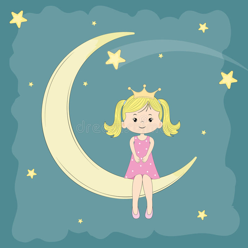 Beautiful cute girl princess sitting on the moon stock photo