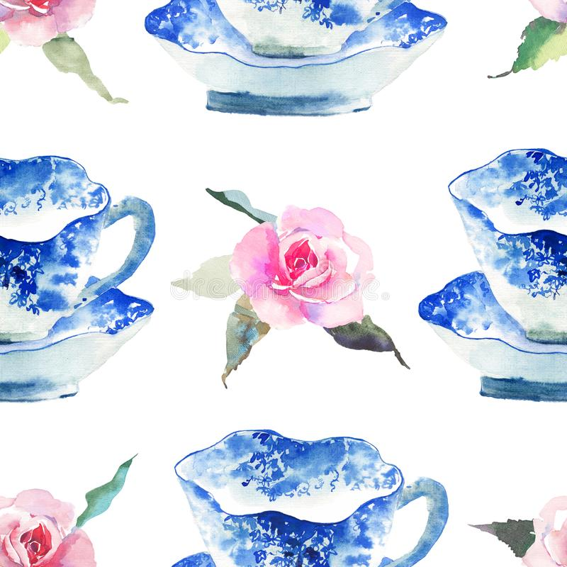 Beautiful cute graphic lovely artistic tender wonderful blue porcelain china tea cups with lovely pink roses flowers pattern water. Color hand illustration stock illustration