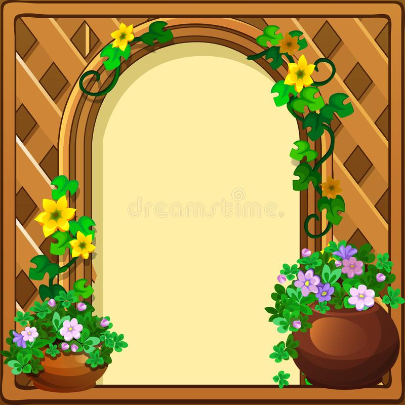 Beautiful cute greeting card with frame and space for your text, picture or photo, in the form of a woven wooden frame vector illustration