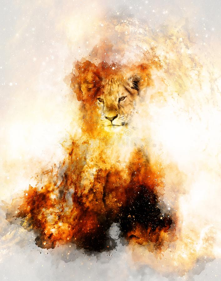 Beautiful cute lion cub in cosmic space. royalty free illustration