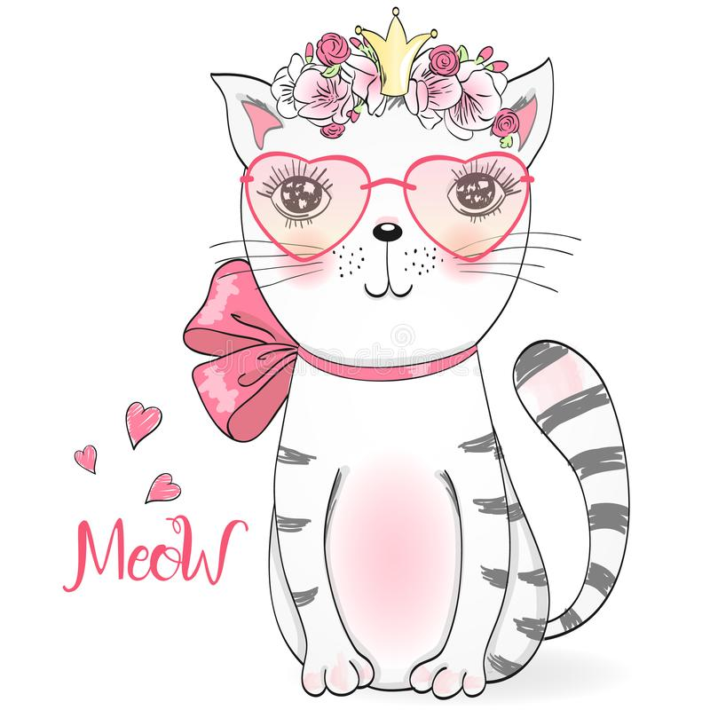 Beautiful cute little girl kitty with flowers. Vector illustration. Hand drawn beautiful cute little girl kitty with flowers. Vector illustration stock illustration