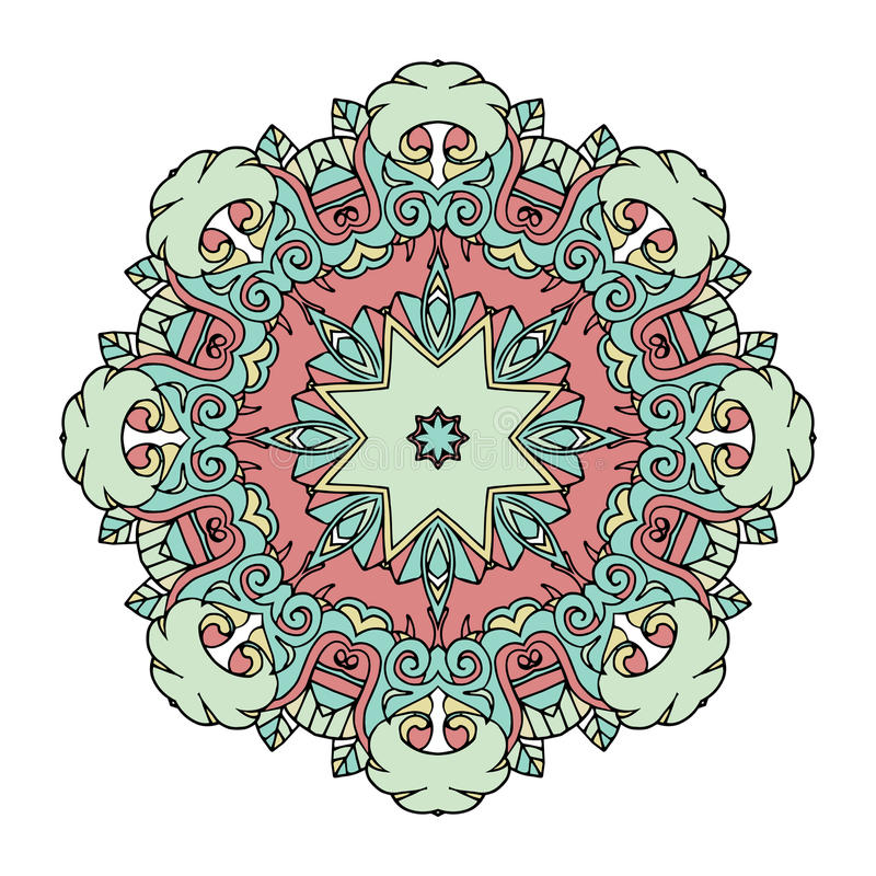 Beautiful cute vintage circle mandala royalty free illustration