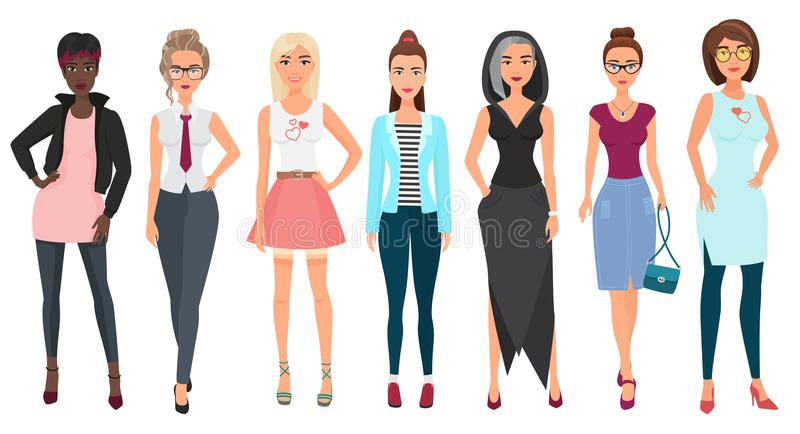 Beautiful cute young women in fashion clothes. Detailed girls female characters. Flat style vector illustration. stock illustration