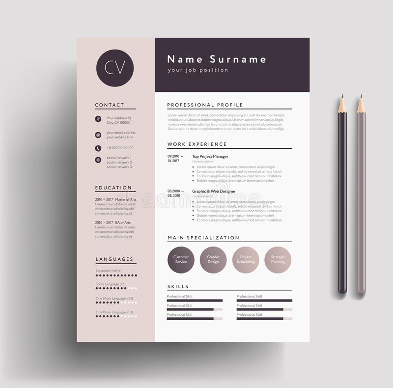 Beautiful CV / Resume template - elegant stylish design - dusty. Pink color background vector