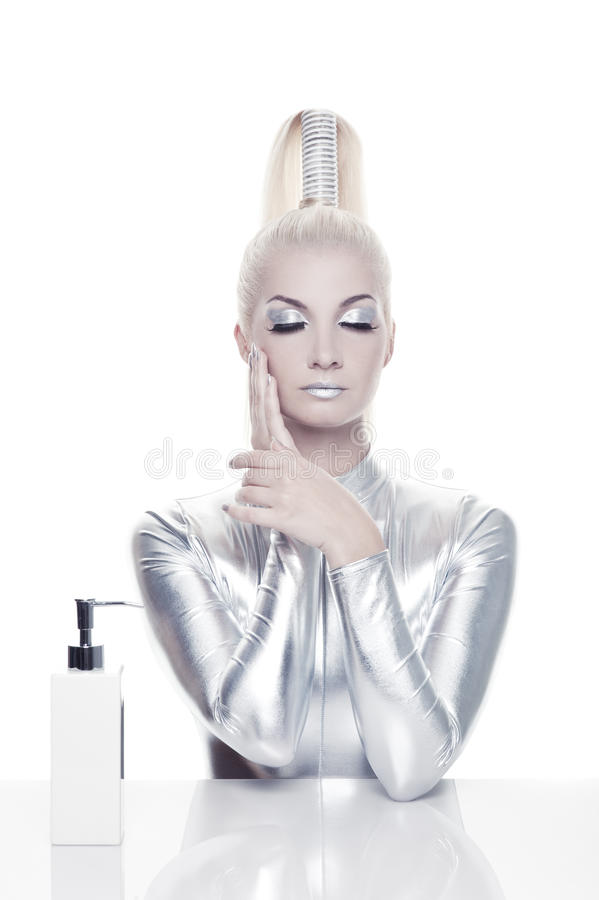 Beautiful cyber woman royalty free stock photos