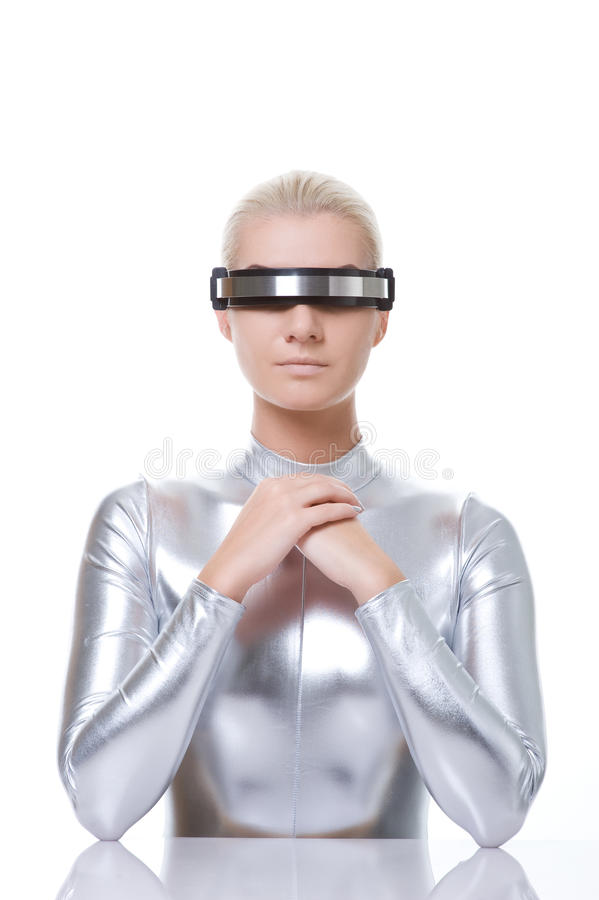 Download Beautiful cyber woman stock image. Image of glasses, design - 11994471