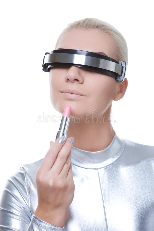 Download Beautiful cyber woman stock photo. Image of cosmetic - 12053148