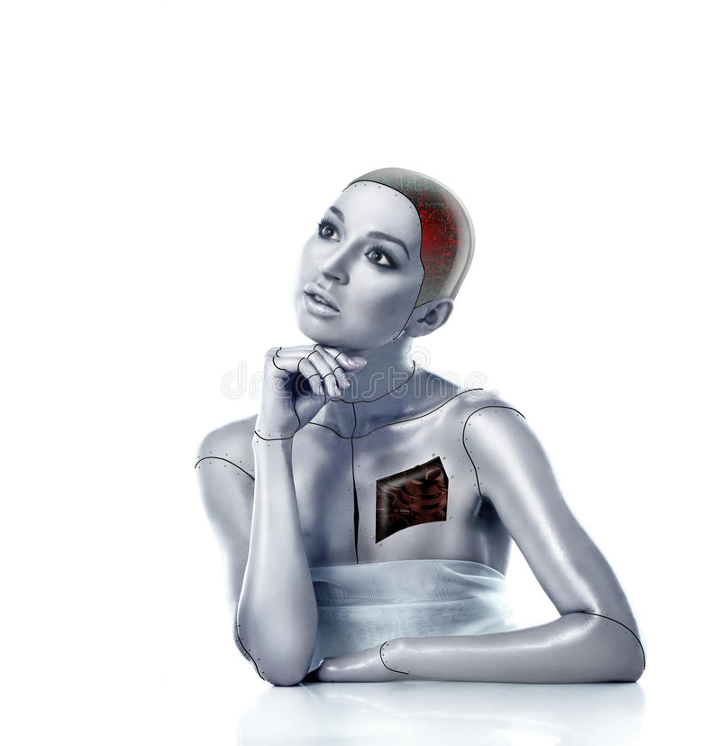 Beautiful cyber woman with selected areas royalty free stock photography