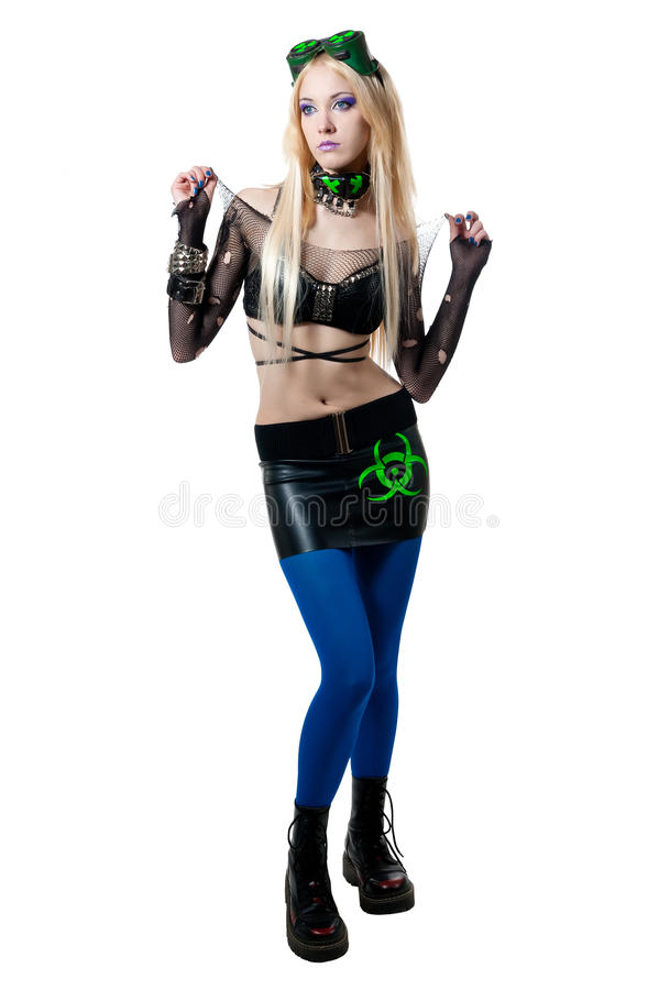 Beautiful cybergoth blonde girl royalty free stock images