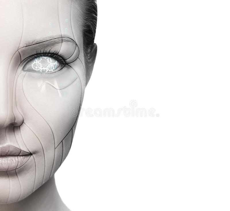 Beautiful cyborg female face isolated on white. Technology concept stock image