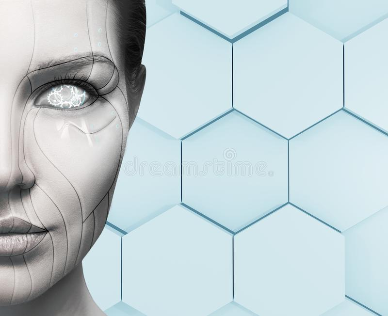 Beautiful cyborg female face. Technology concept. Beautiful cyborg female face over hexagon background. Technology concept royalty free stock photography