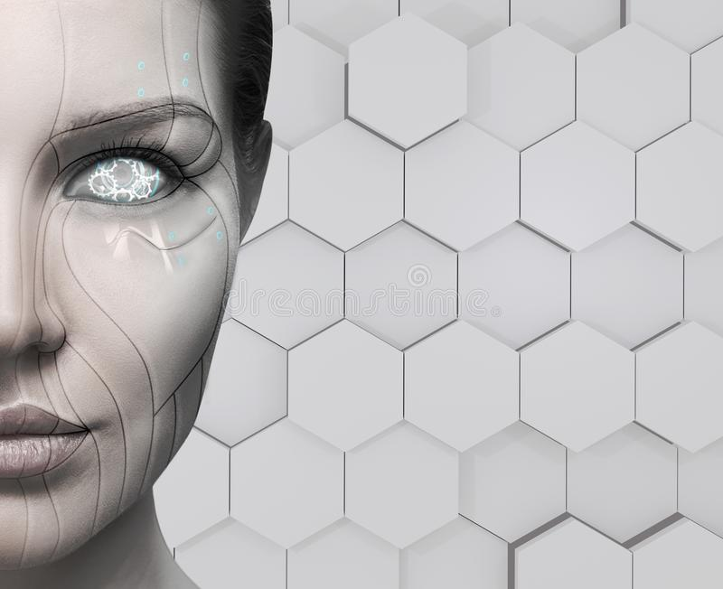 Beautiful cyborg female face. Technology concept. Beautiful cyborg female face over hexagon background. Technology concept stock images
