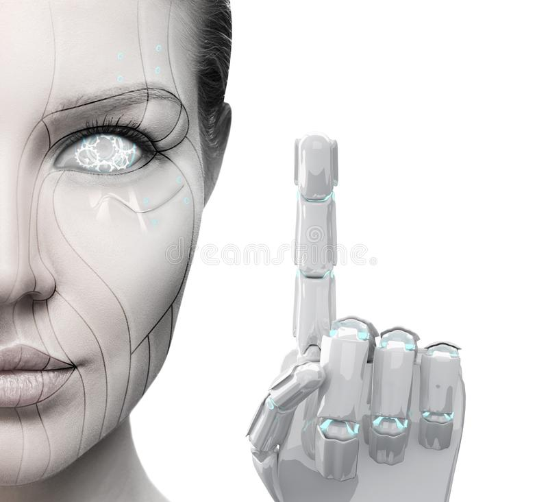 Beautiful cyborg woman shows finger. Isolated on white. Technology concept stock image