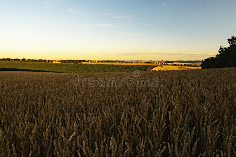 Beautiful czech landscape at sunset in the region Ceske stredohori with a village Vrbicany on the horizon between fields royalty free stock image