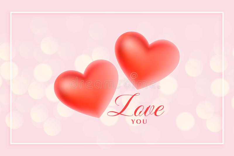 Beautiful 3d love hearts on pink bokeh background royalty free illustration