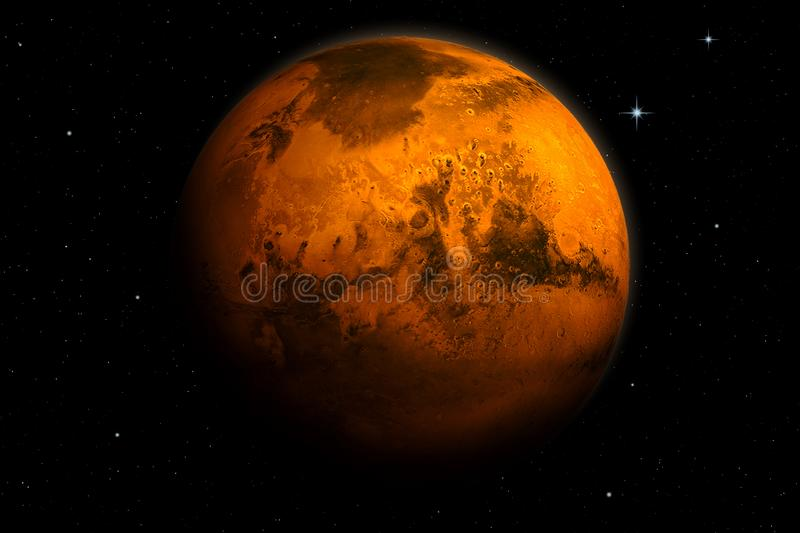 Beautiful 3d rendering of planet Mars royalty free illustration