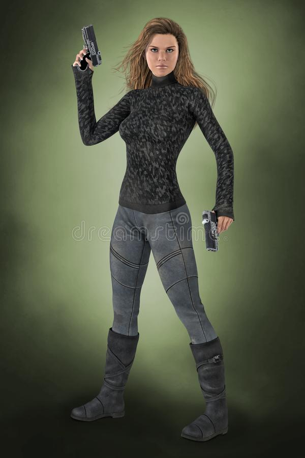 Beautiful 3D woman holding two guns in a ready for action pose. 3D illustrated render of a beautiful woman holding two guns in ready to fight pose. Ideal stock illustration