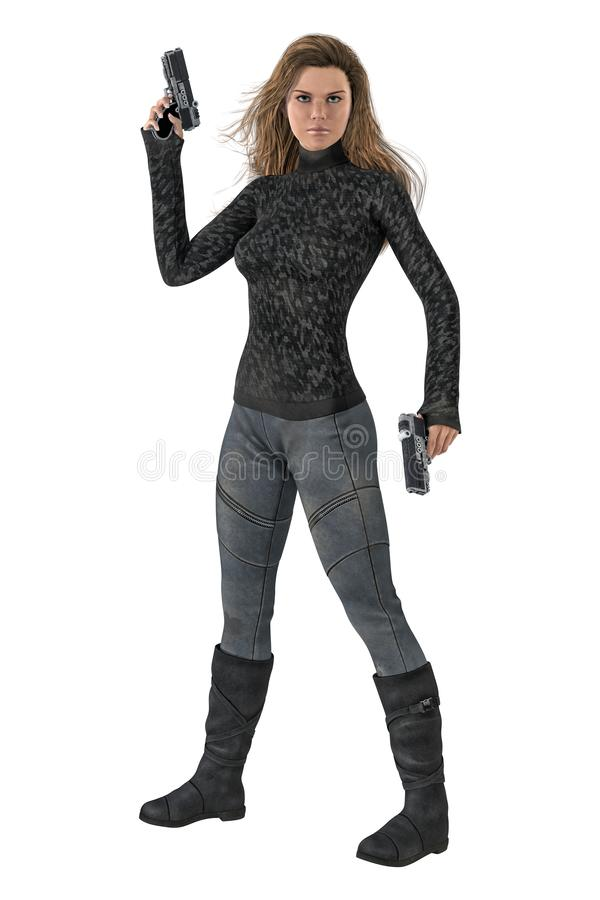Beautiful 3D woman holding two guns in a ready for action pose isolated on a white background. 3D digital illustrated render of a beautiful woman holding two vector illustration