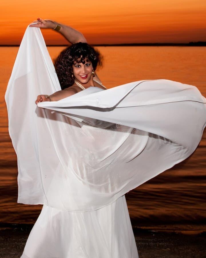 Beautiful dancer at sunset stock images
