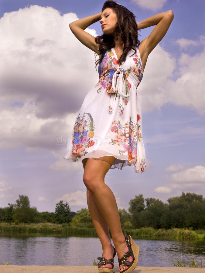 Beautiful dancer in the wild outdoors stock photo