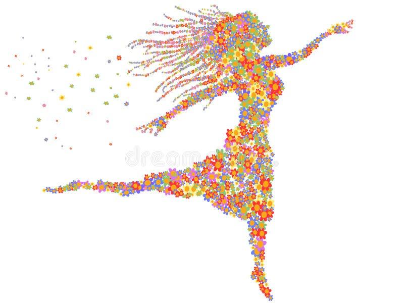 Beautiful dancing floral girl vector illustration
