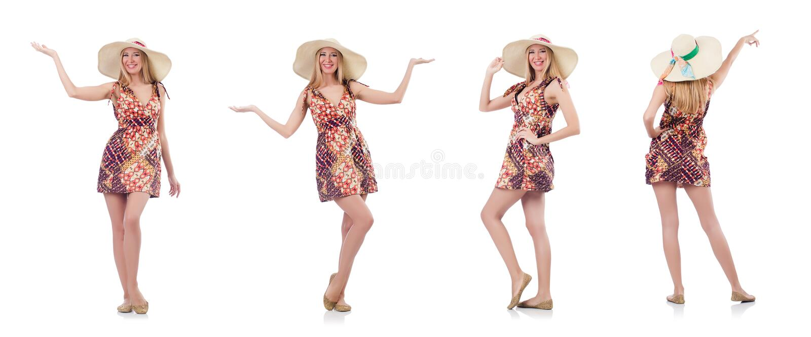 Beautiful dancing woman in summer dress handing hands isolated stock images