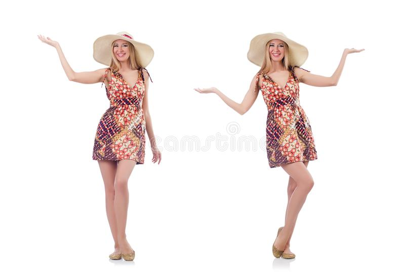 The beautiful dancing woman in summer dress handing hands isolated on white royalty free stock photography